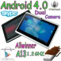 7 inch in Dual Camera Original Q88 A13 Android Tablet PC Allwinner Q88 A13 CPU 1-1.5Ghz Mail 400 GPU Android 4.0 System (Tablet ONLY BASIC PLAN, Black