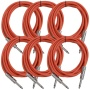 Seismic Audio SASTSX-10Red-6PK 10-Feet TS 1/4-Inch Guitar, Instrument, or Patch Cable, Red