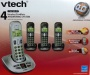 VTech CS6199-42 DECT 6.0 Cordless Phone, Silver/Black, 4 Handsets