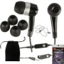 T-Mobile Samsung galaxy S2 SII T989 3.5mm Stereo Earbud handsfree headset black with on off answer switch and extra soft eargels with Velvet carry pou