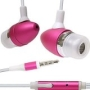 New Pink 3.5mm Aluminum Bullet Design Sound Isolation Earphones Hands-free Headset with Built-in Microphone for Apple Iphone 3g 3gs