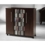 PREMIUM Luxor Black Wood Media Storage Tower Shelf Rack Unit Sideboard with Glass & Wooden Doors for CD & DVD [900 CDs or 390 DVDs] VM