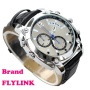 Flylink 2014 Newest 8GB Real HD 1080P Waterproof DV DVR Mini Watch With Camera Function Black Strap And Silver Dial