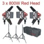 New 3x Redhead 800w Red Head 4.8m + stands + Bags + 3 DXX lamps Redhead