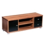 Premier Housewares Fargo TV Unit with Walnut Veneer/Black High Gloss Drawers, 43 x 120 x 40 cm
