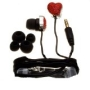 Nemo Digital NDF10112RE-2 Crystal Pave Twisted Heart Earbud (Red with Black Wires)