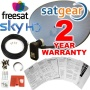 Satgear Sky/Freesat Zone 2 60cm HD Satellite Dish Kit with Brackets, Quad LNB, 20m Single RG6 Cable and Fixings