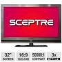 """Sceptre 32"""" Class LED-LCD 1080p 60Hz HDTV, 1"""" Ultra-Slim, Nickel Brush, E320GV-FHD"""