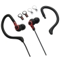 New Balance NB439B 2-in-1 Sport Earbuds with Removable Ear Hooks, Interchangeable Colored Accent Caps and Cord Lengths with Volume Control (Black)