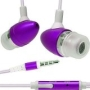 New Purple 3.5mm Aluminum Bullet Design Sound Isolation Earphones Hands-free Headset with Built-in Microphone for Apple Iphone 3g 3gs