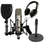 Rode NT1-A Cardioid Condenser Microphone Recording Package with Sennheiser HD 202-II Closed-Back Around-the-ear Studio Headphones and Round Base Micro