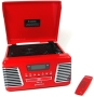 Steepletone Classic Roxy 2 Red with Record Turntable - CD Player with Remote control + FM / AM Radio & USB MP3 Player port