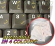 PASHTO KEYBOARD STICKERS WITH YELLOW LETTERING ON TRANSPARENT BACKGROUND