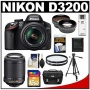 Nikon D3200 Digital SLR Camera & 18-55mm G VR DX AF-S Zoom Lens (Black) + 55-200mm VR Lens + 16GB Card + Case + Filters + Tripod + Telephoto & Wide-An