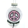 Pink and Black Peace Crystal Rhinestone DJ Over-Ear Headphones