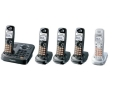 Panasonic KX-TG9345PK DECT 6.0 Expandable Digital Cordless Phone Digital Answering System and Dual Keypads 4 chargers, 5 Handsets (4 Black, 1 Silver)