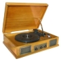 Steepletone Norwich 2 Light Wood Retro Style Wooden Stereo Record Player/ Radio With USB - MP3 Playback
