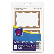 Avery Print or Write Name Badge Labels with Gold Border 21132quot x 338quot Pack of 100 5146