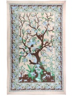 Sunshine Joy Tree Of Life Indian Tapestry - 60x90 Inches - Beach Sheet - Hanging Wall Art (Brown)
