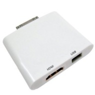 GSI Quality 2-In-1 USB HDMI Combo Connection Kit For Apple iPad, iPad 2, iPhone 4 And iTouch - Transfer Photos/Videos From Camera To iPad, And Connect
