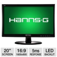 "HannsG HL203DPB 20"" Class LED Backlit Monitor - 1600 x 900, 16:9, 30000000:1 Dynamic, 5ms, DVI, VGA, Energy Star  HL203DPB"
