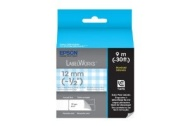 Epson LabelWorks Standard LC Tape Cartridge ~1/2-Inch Gray on Blue Check (Plaid) on White (LC-4CAY9)