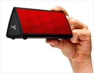 The Oontz Angle with Red Grille by Cambridge SoundWorks - Top Rated Bluetooth Speaker