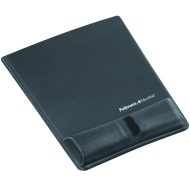 "Fellowes Mouse Pad / Wrist Support with Microban Protection - 0.9"" x 8.3"" x 9.9"" - Graphite 9184001"