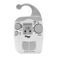 PyleHome PSR6 Hanging Waterproof AM/FM Shower Clock Radio