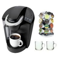 Keurig K45 Elite Single Cup Home Brewing System w/ Bonus 12 K-Cups & Water Filter Kit-B40 + 2-Piece 10 oz. ARC Handy Glass Coffee Mug + 28 K-Cup Carou