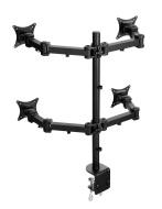 Lavolta Mensola Braccio di Supporto per 4x Monitor LCD LED TV Schermo Display Piatto Panello Plasma - 360° Rotazione e Girevole +/-15 ° Regolazione de