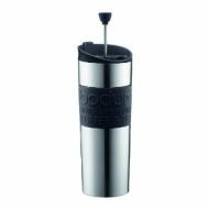 Bodum Insulated Stainless-Steel Travel French Press Coffee and Tea Mug, 0.45-Liter, 15-Ounce, Black