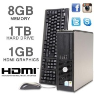 PC DELL HDMI 1000GB 8GB MEMORY CORE 2 DUO PC SFF VELOCE (P2-9)