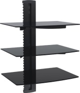VonHaus 3x Black Floating Shelves with Strengthened Tempered Glass for DVD Players/Cable Boxes/Games Consoles/TV Accessories