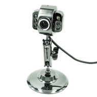 HDE USB Webcam with LED Lights - Metal Finish