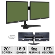 Two Acer S201HL bd 20 Widescreen LED Backlit Monitors and Planar AS2 997-5253-00 Dual Monitor Stand Bundle