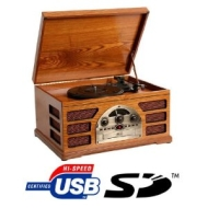 Zyon Wooden Retro Turntable 3 Speed Record Player AM/FM Radio CD, w/ USB & SD Interface for MP3 Playback - (Beech)