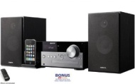 Sony Micro Hi-Fi Stereo Sound System with 30-Pin iPod Dock, MP3 CD Player, FM Radio Tuner, 20 Preset Stations, Remote Control, Digital Time Display, A