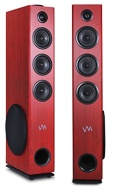 VM Audio EXAT33 Cherry Floorstanding Powered Bluetooth Home Tower Speakers Pair
