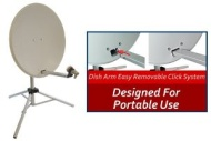 Netgadgets 80cm Portable Dark Grey Satellite Dish Kit with Tripod and 12v Comag Receiver for Caravan/Camping
