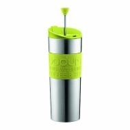 Bodum Insulated Stainless-Steel Travel French Press Coffee and Tea Mug, 0.45-Liter, 15-Ounce, Green