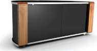 "MDA Designs Sirius 850 Remote Friendly Salida cable Cristal Door Marron / Marron Changable Panels Brillante Negro con Brushed Aluminium Trim 26""-40"" L"