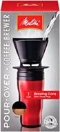 Melitta Coffee Maker, Single Cup Pour-Over Brewer with Travel Mug, Red (Pack of 2)
