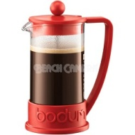 Bodum Brazil 3 Cup French Press Coffee Maker - 12 oz Glass Carafe (Red)