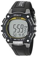 Timex Men's T5E231 Ironman Traditional 100-Lap Silver-Tone/Black Resin Strap Watch