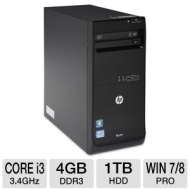 HP Pro 3500 C9J26UT#ABA Desktop PC - 3rd Gen. Intel Core i3-3240 3.4GHz, 4GB DDR3, 1TB HDD, DVDRW, Windows 7 Pro 64-bit / Windows 8 Pro 64-bit, Keyboa