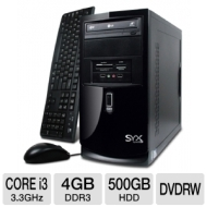 Systemax SYX Venture SBM3 Desktop PC - Intel Core i3 2120 3.3 GHz, Genuine Windows 7 Professional 64 Bit, 4GB DDR3, 500 GB HDD, DVDRW, 15-in-1 Card Re