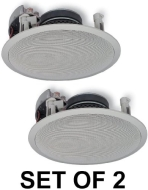 "Yamaha Natural Sound Custom Easy-to-install In-Ceiling Flush Mount 2-Way 150 watts Speaker (Set of 4) with 8"" Kevlar Cone Woofers & 1"" Swivel Titanium"