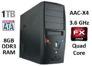 AAC-X4 Desktop Computer - 3.6GHz Quad Core Processor (Bulldozer) 8GB DDR3 RAM 1,000GB (1TB) HDD