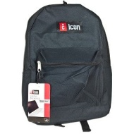 iCon BKPK731-BLK Nylon Notebook Backpack - Fits up to 15.6-inch (Black)